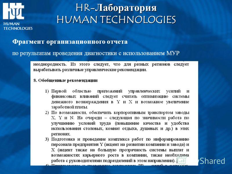 HR-ЛабораторияHUMAN TECHNOLOGIES HUMAN TECHNOLOGIES Фрагмент организационного отчета по результатам проведения диагностики с использованием МУР