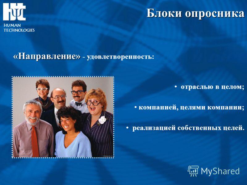 «Направление» «Направление» - удовлетворенность: отраслью в целом; компанией, целями компании; реализацией собственных целей. Блоки опросника HUMAN TECHNOLOGIES