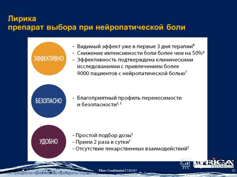 Pfizer Confidential 27/02/0725 Лирика препарат выбора при нейропатической боли Инструкция по применению препарата Лирика (прегабалин)
