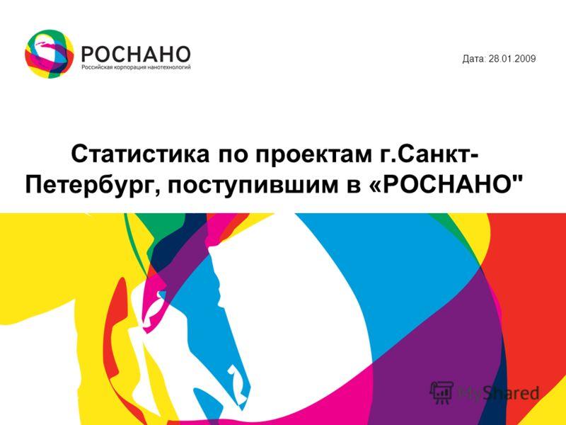 Статистика по проектам г.Санкт- Петербург, поступившим в «РОСНАНО Дата: 28.01.2009