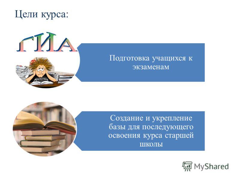 Цели курса: Подготовка учащихся к экзаменам Создание и укрепление базы для последующего освоения курса старшей школы