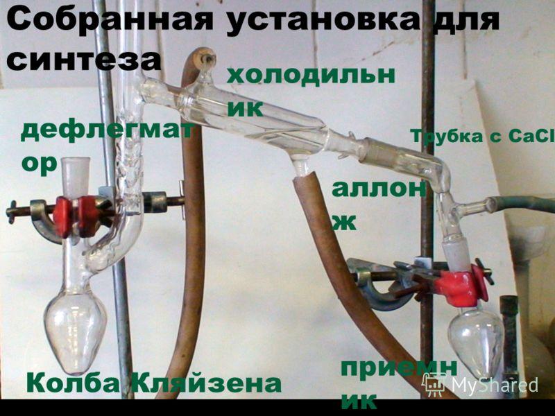 Колба Кляйзена приемн ик дефлегмат ор аллон ж холодильн ик Трубка с CaCl 2 Собранная установка для синтеза