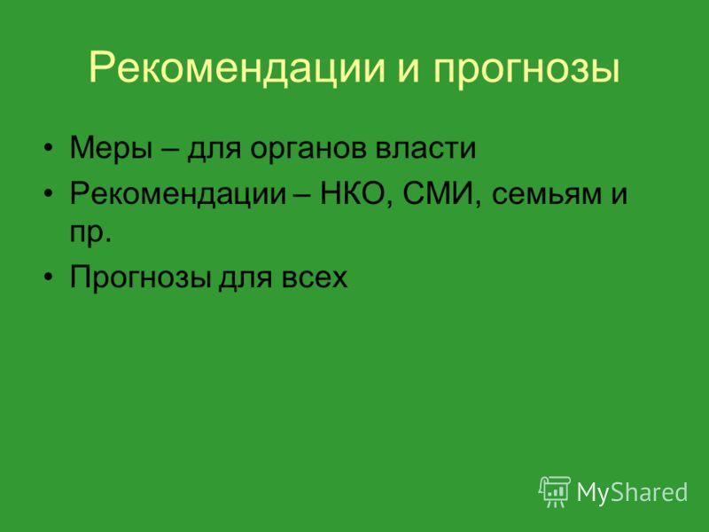 Рекомендации и прогнозы Меры – для органов власти Рекомендации – НКО, СМИ, семьям и пр. Прогнозы для всех