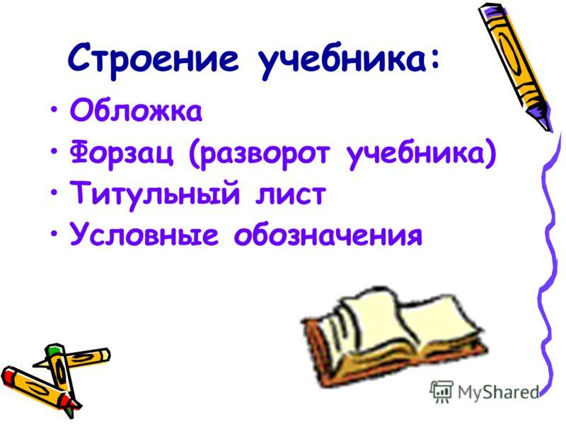 Строение учебника: Обложка Форзац (разворот учебника) Титульный лист Условные обозначения
