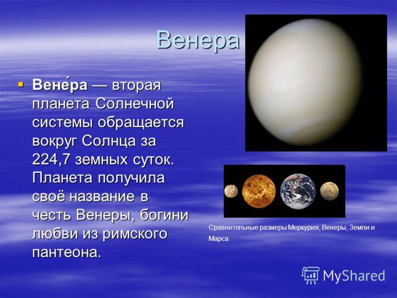 Венера Вене́ра втораяпланета Солнечнойсистемы обращаетсявокруг Солнца за224,7 земных суток.Планета получиласвоё название вчесть Венеры, богинилюбви из римскогопантеона. Сравнительные размеры Меркурия, Венеры, Земли и Марса