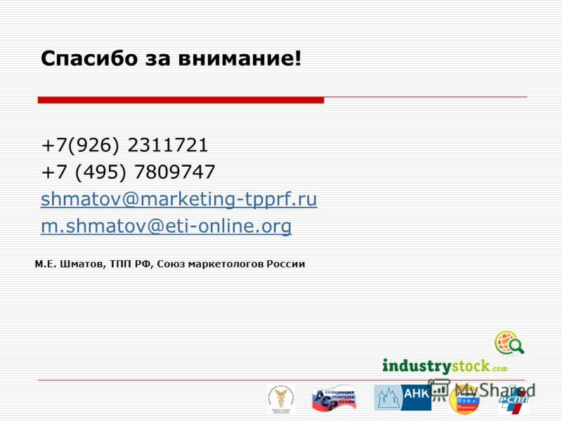 Спасибо за внимание! +7(926) 2311721 +7 (495) 7809747 shmatov@marketing-tpprf.ru m.shmatov@eti-online.org М.Е. Шматов, ТПП РФ, Союз маркетологов России