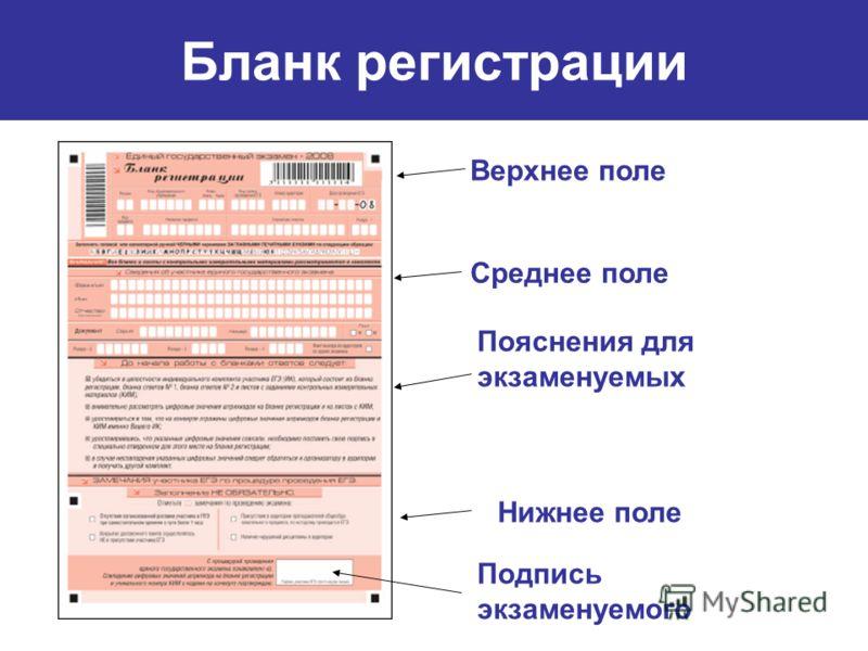Верхнее поле Среднее поле Пояснения для экзаменуемых Нижнее поле Подпись экзаменуемого Бланк регистрации
