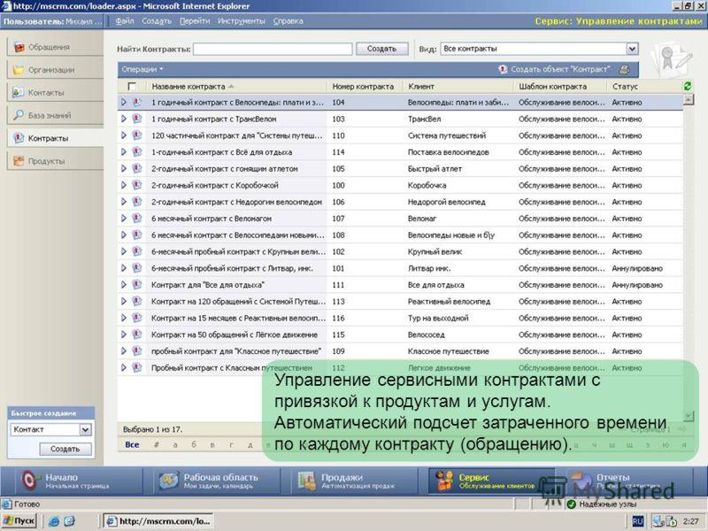 Управление сервисными контрактами с привязкой к продуктам и услугам. Автоматический подсчет затраченного времени по каждому контракту (обращению).