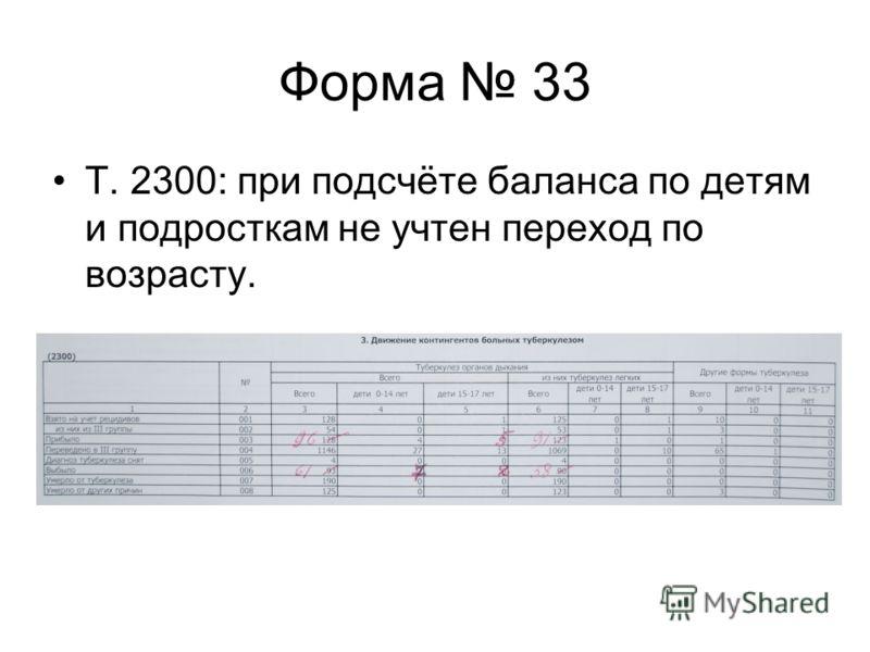 Форма 33 Т. 2300: при подсчёте баланса по детям и подросткам не учтен переход по возрасту.