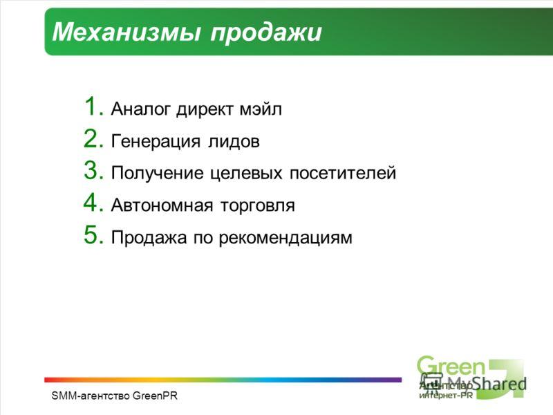 SMM-агентство GreenPR Механизмы продажи 1. Аналог директ мэйл 2. Генерация лидов 3. Получение целевых посетителей 4. Автономная торговля 5. Продажа по рекомендациям