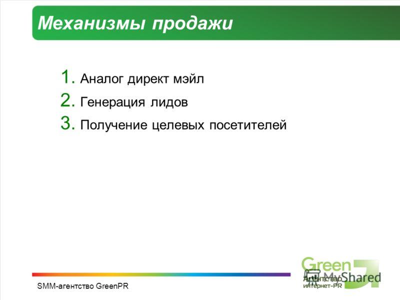 SMM-агентство GreenPR Механизмы продажи 1. Аналог директ мэйл 2. Генерация лидов 3. Получение целевых посетителей