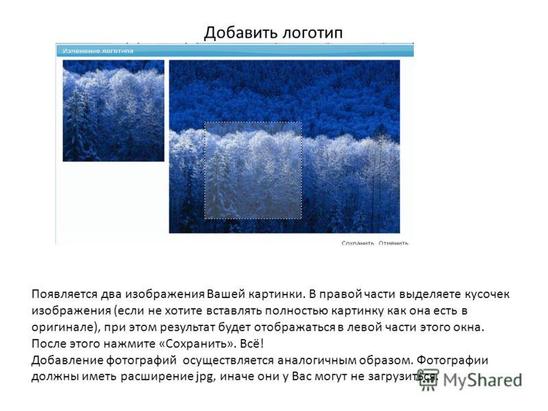 Добавить логотип Появляется два изображения Вашей картинки. В правой части выделяете кусочек изображения (если не хотите вставлять полностью картинку как она есть в оригинале), при этом результат будет отображаться в левой части этого окна. После это