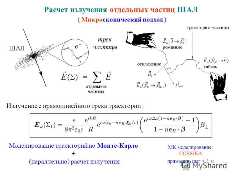 Расчет излучения отдельных частиц ШАЛ ( Микроскопический подход ) Моделирование траекторий по Монте-Карло + (параллельно) расчет излучения МК моделирование: CORSIKA прямолин. шаг < 1 м Излучение с прямолинейного трека траектории :