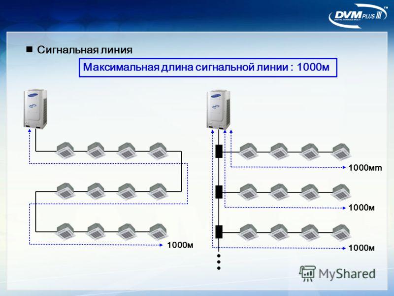 Максимальная длина сигнальной линии : 1000м 1000мm 1000м Сигнальная линия