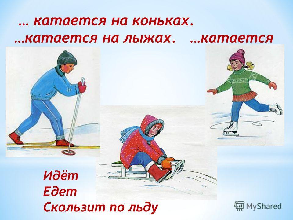 … катается на коньках. …катается на лыжах. …катается на санках. Идёт Едет Скользит по льду