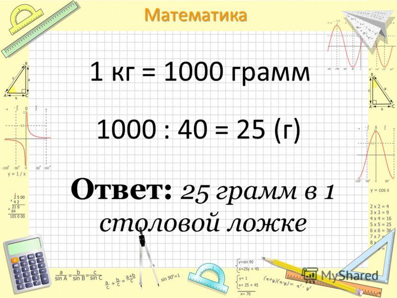 Математика 1 кг = 1000 грамм 1000 : 40 = 25 (г) Ответ: 25 грамм в 1 столовой ложке