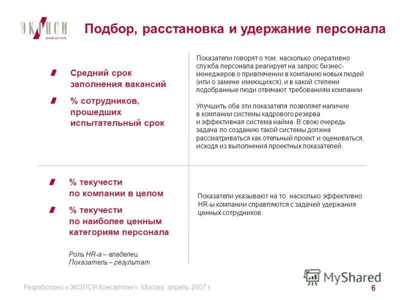 Разработано «ЭКОПСИ Консалтинг», Москва, апрель 2007 г. 6 Средний срок заполнения вакансий % сотрудников, прошедших испытательный срок % текучести по компании в целом % текучести по наиболее ценным категориям персонала Показатели указывают на то, нас