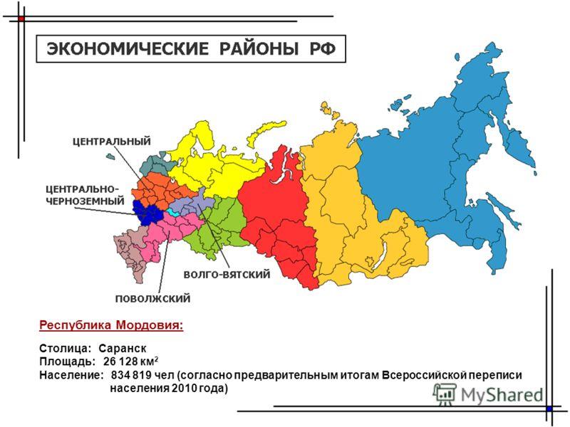 Республика Мордовия: Столица: Саранск Площадь: 26 128 км 2 Население: 834 819 чел (согласно предварительным итогам Всероссийской переписи населения 2010 года)