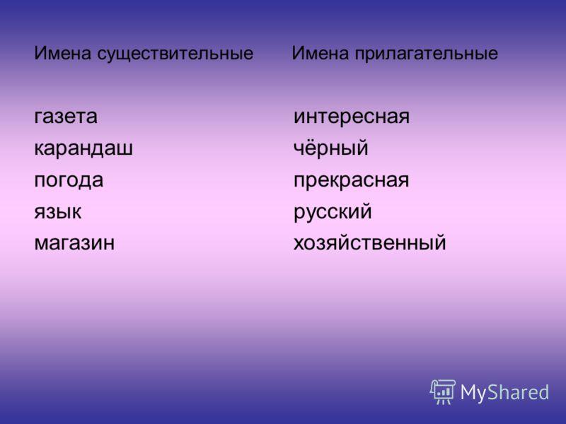 Имена существительные Имена прилагательные газета карандаш погода язык магазин интересная чёрный прекрасная русский хозяйственный