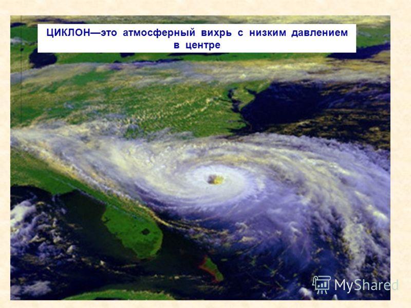 ЦИКЛОНэто атмосферный вихрь с низким давлением в центре