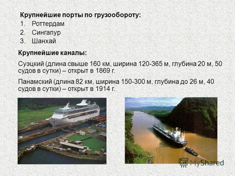 Крупнейшие каналы: Суэцкий (длина свыше 160 км, ширина 120-365 м, глубина 20 м, 50 судов в сутки) – открыт в 1869 г. Панамский (длина 82 км, ширина 150-300 м, глубина до 26 м, 40 судов в сутки) – открыт в 1914 г. Крупнейшие порты по грузообороту: 1.Р