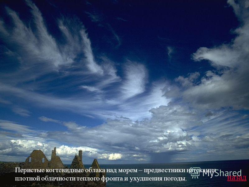 Перистые когтевидные облака над морем – предвестники натекания плотной облачности теплого фронта и ухудшения погоды. назад