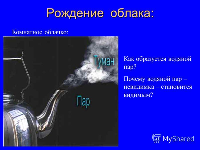 Рождение облака: Комнатное облачко: Как образуется водяной пар? Почему водяной пар – невидимка – становится видимым?