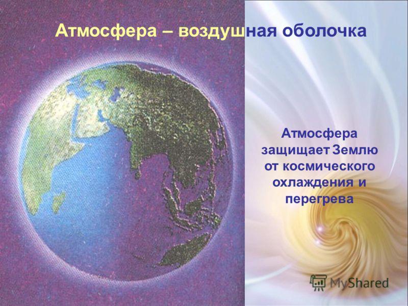 Атмосфера – воздушная оболочка Атмосфера защищает Землю от космического охлаждения и перегрева