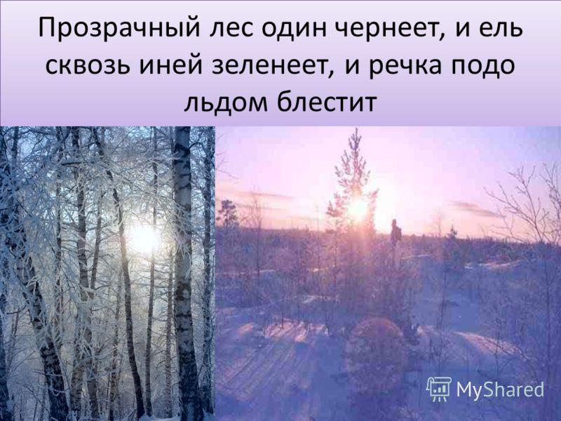 Прозрачный лес один чернеет, и ель сквозь иней зеленеет, и речка подо льдом блестит