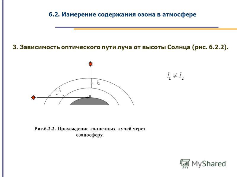 6.2. Измерение содержания озона в атмосфере 3. Зависимость оптического пути луча от высоты Солнца (рис. 6.2.2). l1 l2 Рис.6.2.2. Прохождение солнечных лучей через озоносферу.
