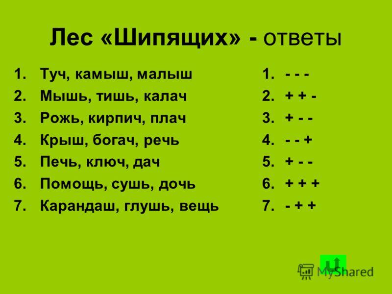 Лес «Шипящих» - ответы 1.Туч, камыш, малыш 2.Мышь, тишь, калач 3.Рожь, кирпич, плач 4.Крыш, богач, речь 5.Печь, ключ, дач 6.Помощь, сушь, дочь 7.Карандаш, глушь, вещь 1.- - - 2.+ + - 3.+ - - 4.- - + 5.+ - - 6.+ + + 7.- + +