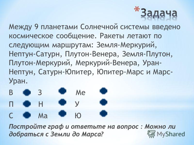 Между 9 планетами Солнечной системы введено космическое сообщение. Ракеты летают по следующим маршрутам: Земля-Меркурий, Нептун-Сатурн, Плутон-Венера, Земля-Плутон, Плутон-Меркурий, Меркурий-Венера, Уран- Нептун, Сатурн-Юпитер, Юпитер-Марс и Марс- Ур