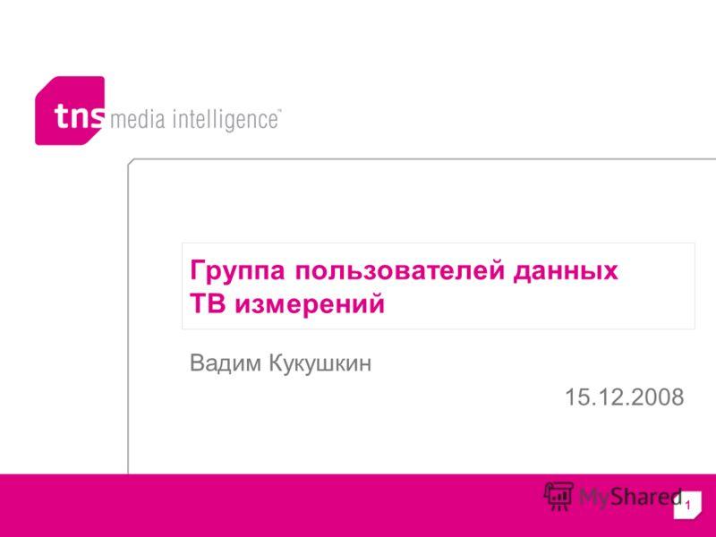 1 Группа пользователей данных ТВ измерений Вадим Кукушкин 15.12.2008