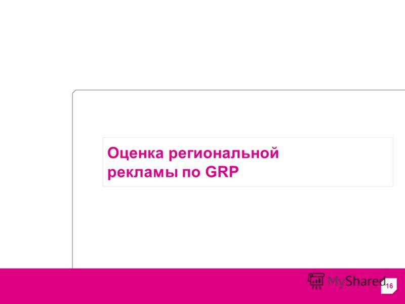 16 Оценка региональной рекламы по GRP
