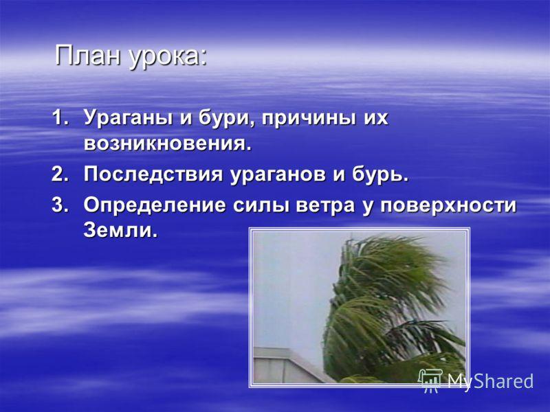 План урока: 1.Ураганы и бури, причины ихвозникновения. 2.Последствия ураганов и бурь. 3.Определение силы ветра у поверхностиЗемли.
