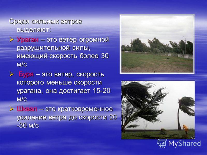 Среди сильных ветроввыделяют: Ураган – это ветер огромнойразрушительной силы,имеющий скорость более 30м/с Буря – это ветер, скорость которого меньше скорости урагана, она достигает 15-20 м/с Шквал – это кратковременноеусиление ветра до скорости 20-30