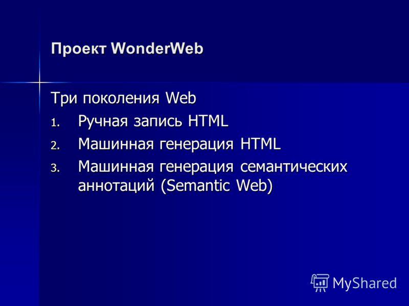 Проект WonderWeb Три поколения Web 1. Ручная запись HTML 2. Машинная генерация HTML 3. Машинная генерация семантических аннотаций (Semantic Web)