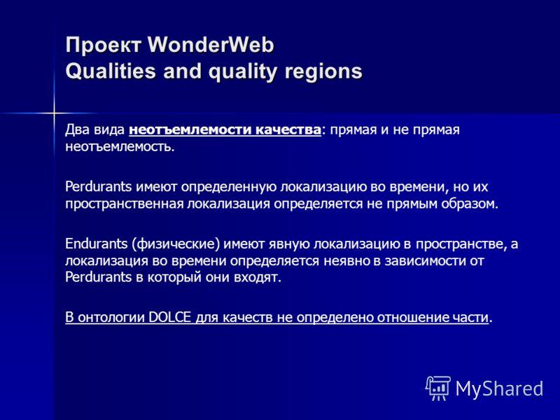Проект WonderWebQualities and quality regions Два вида неотъемлемости качества: прямая и не прямая неотъемлемость. Perdurants имеют определенную локализацию во времени, но их пространственная локализация определяется не прямым образом. Endurants (физ