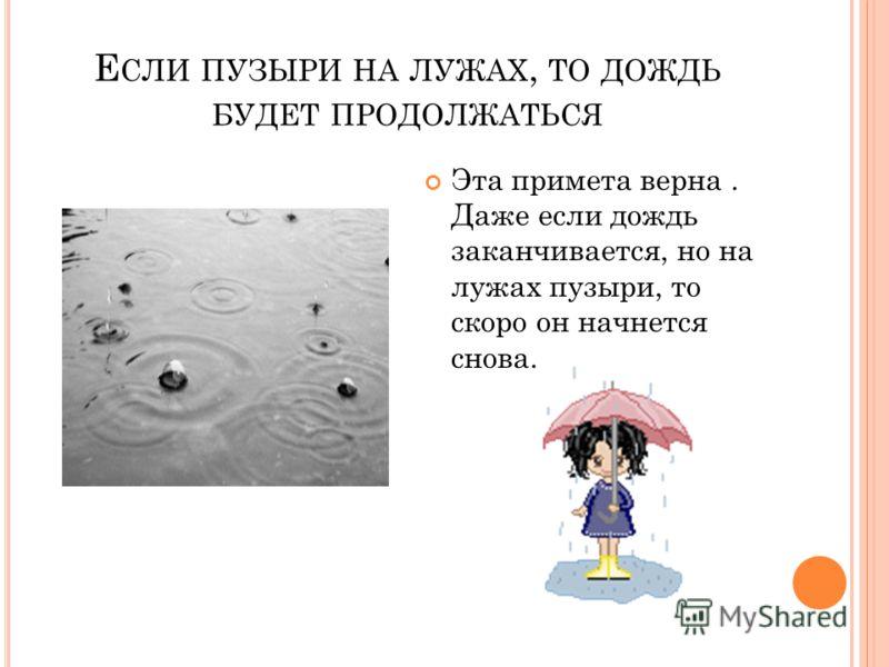 Е СЛИ ПУЗЫРИ НА ЛУЖАХ, ТО ДОЖДЬ БУДЕТ ПРОДОЛЖАТЬСЯ Эта примета верна. Даже если дождь заканчивается, но на лужах пузыри, то скоро он начнется снова.