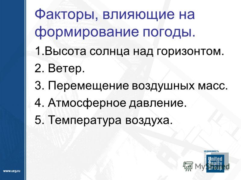www.urg.ru Факторы, влияющие на формирование погоды. 1.Высота солнца над горизонтом. 2. Ветер. 3. Перемещение воздушных масс. 4. Атмосферное давление. 5. Температура воздуха.