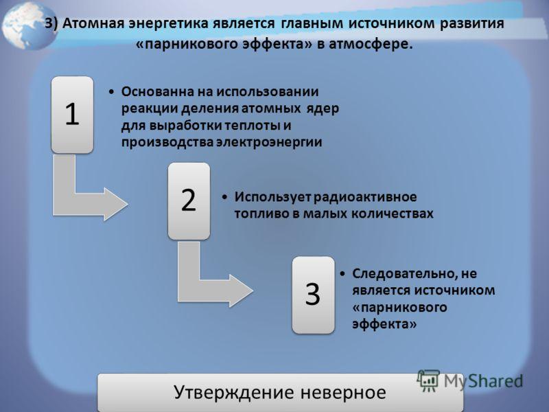 3) Атомная энергетика является главным источником развития «парникового эффекта» в атмосфере. 1 Основанна на использовании реакции деления атомных ядеp для выработки теплоты и пpоизводства электpоэнергии 2 Использует радиоактивное топливо в малых кол
