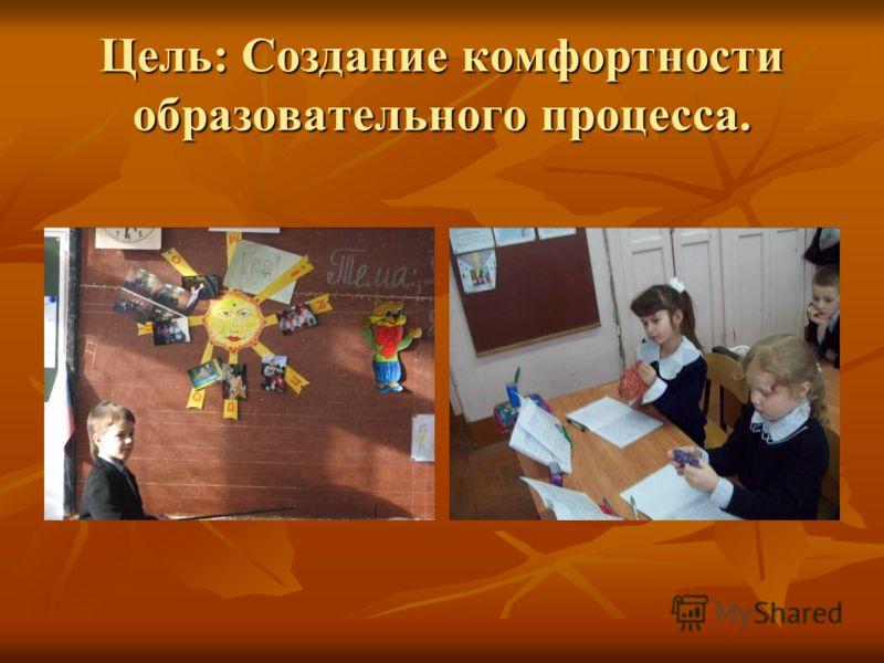 Цель: Создание комфортностиобразовательного процесса.