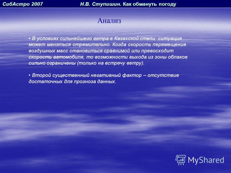 СибАстро 2007 Н.В. Ступишин. Как обмануть погоду Анализ В условиях сильнейшего ветра в Казахской степи ситуация может меняться стремительно. Когда скорость перемещения воздушных масс становиться сравнимой или превосходит скорость автомобиля, то возмо