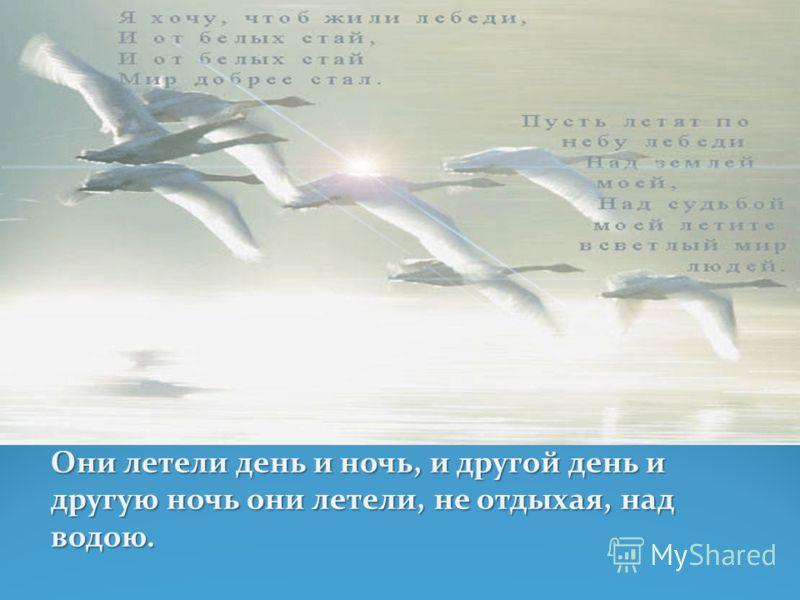 Они летели день и ночь, и другой день идругую ночь они летели, не отдыхая, надводою.