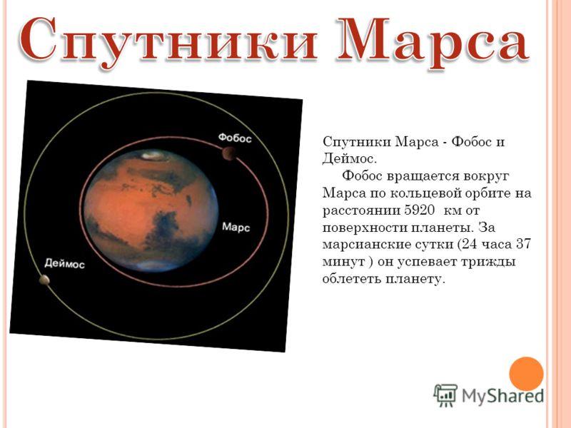 Спутники Марса - Фобос и Деймос. Фобос вращается вокруг Марса по кольцевой орбите на расстоянии 5920 км от поверхности планеты. За марсианские сутки (24 часа 37 минут ) он успевает трижды облететь планету.