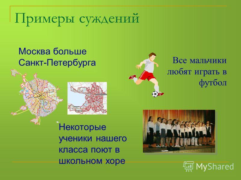 Москва больше Санкт-Петербурга Все мальчики любят играть в футбол Некоторые ученики нашего класса поют в школьном хоре Примеры суждений
