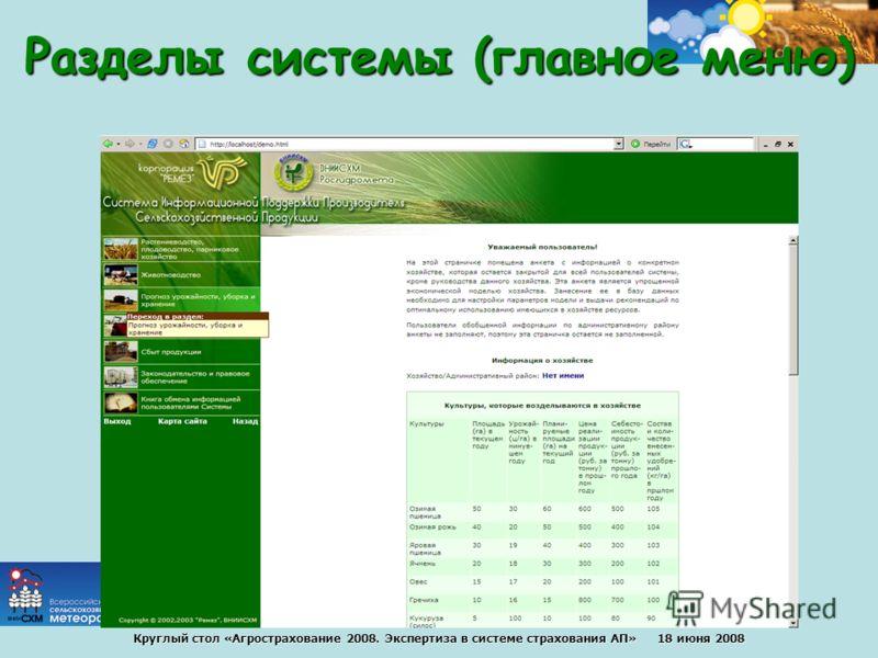 Круглый стол «Агрострахование 2008. Экспертиза в системе страхования АП» 18 июня 2008 Разделы системы (главное меню)
