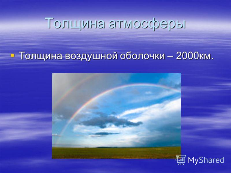 Толщина атмосферы Толщина воздушной оболочки – 2000км.