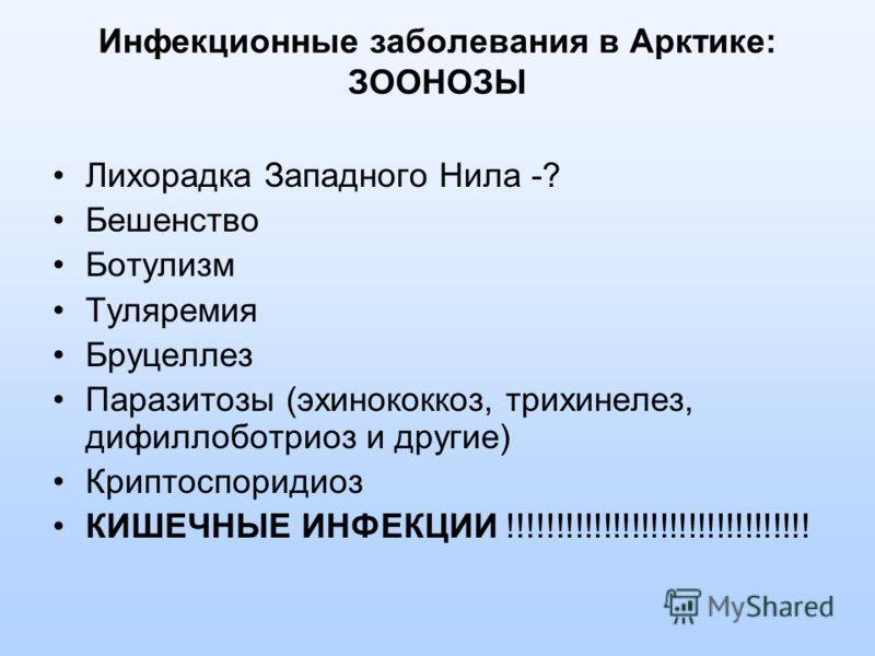 Инфекционные заболевания в Арктике: ЗООНОЗЫ Лихорадка Западного Нила -? Бешенство Ботулизм Туляремия Бруцеллез Паразитозы (эхинококкоз, трихинелез, дифиллоботриоз и другие) Криптоспоридиоз КИШЕЧНЫЕ ИНФЕКЦИИ !!!!!!!!!!!!!!!!!!!!!!!!!!!!!!!!