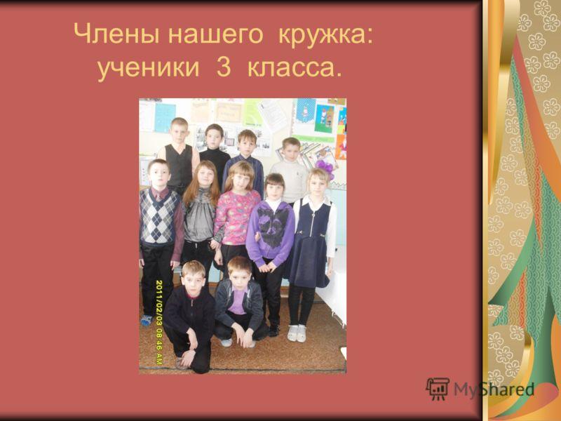 Члены нашего кружка: ученики 3 класса.